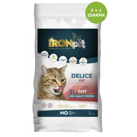 IRONpet Cat Delice Beef (Hovězí) 2 kg AKCE 3 + 1 ZDARMA