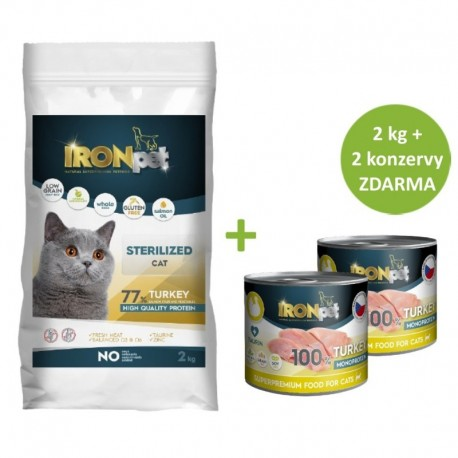 IRONpet Cat Sterilized Turkey (Krůta) 2 kg + Konzerva 2 ks ZDARMA