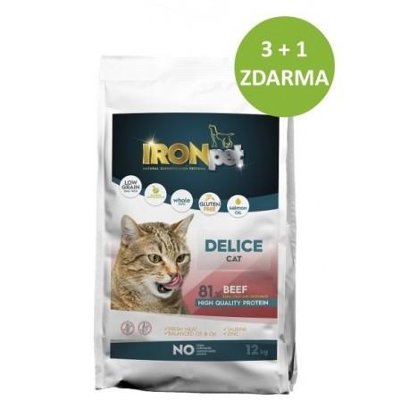 IRONpet Cat Delice Beef (Hovězí) 12 kg AKCE 3 + 1 ZDARMA