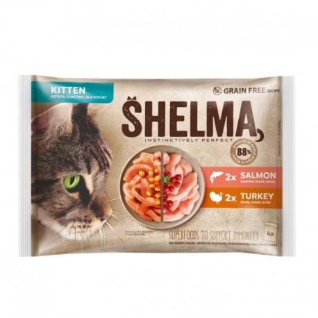 SHELMA Cat Kitten losos 2 x , krůta 2 x, kapsa 85 g (4 ks)