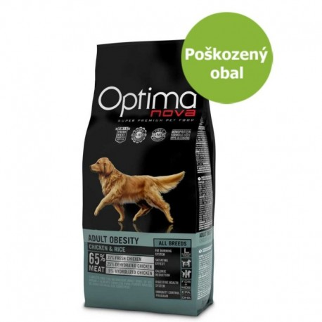 OPTIMAnova Dog Obesity Chicken & Rice 12 kg - Poškozený obal - SLEVA 20 %