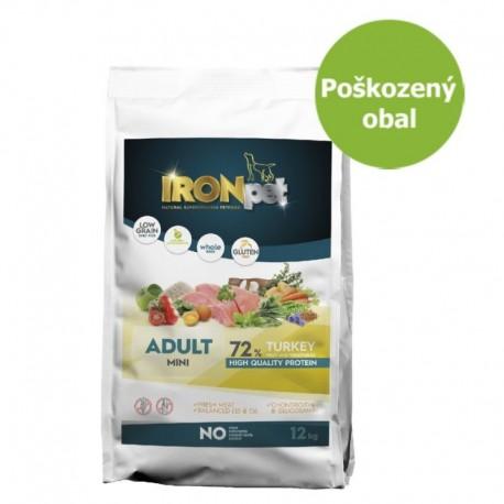 IRONpet Dog Adult Mini Turkey (Krocan) 12 kg - Poškozený obal - SLEVA 20 %